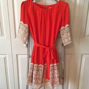Orange dress with lace trim